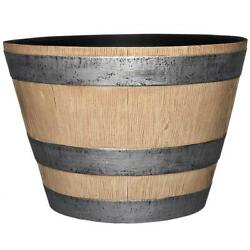 Camp Hill Whiskey Barell Natural Oak Resin Pot Planter 17.7 In Dia X 12.4 In H
