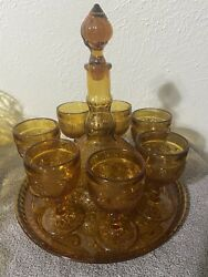 Vintage 8 Piece Amber Indiana Glass Tiara Decanter 6 Goblet And Tray Wine Set