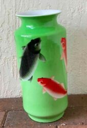 Rare Antique Hand Painted Lg Fish Vase - Scripts Refer To Qing Dynasty Qianlong