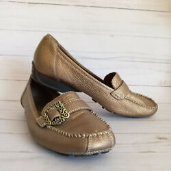 Bare Traps Womens Padora Loafer Shoes Bronze Flat Comfort Slip On Buckle 9.5 M