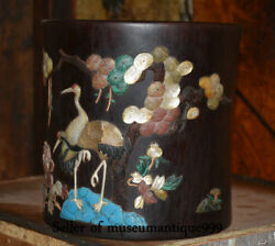 8 Old Chinese Rosewood Inlay Shell Dynasty Pine Cranes Brush Pot Pencil Vase