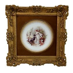 Minton Plate In Italianate Gilt Frame, Lady, Dog And Deer, A. Boullemier, 1882