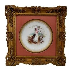 Minton Plate In Italianate Gilt Frame, Girl In The Fields, A. Boullemier, 1882
