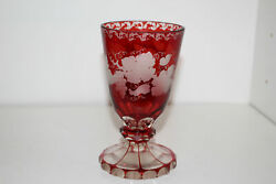 Antique Ruby Flash Etched Glass Goblet-grape And Vine