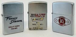 3 1950and039s Zippo Lighters French Shriner Duralite And Wisconsin Gasket Company