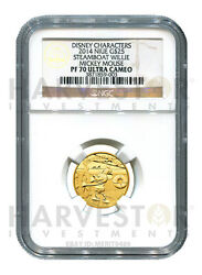 Disney - Steamboat Willie - Ngc Pf70 U-cam - 1/4 Oz. Proof Gold - Mickey Mouse