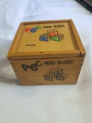 Vintage 48 Colorful Wooden Alphabet Blocks In Wooden Box Toy Building Fun Spell