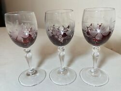 Set Of Three Antique Cut To Clear Crystal Glass Shot Cordial Glasses W/ Stems