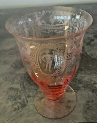 5 Antique Heisey Pink Bubble Girl Etched Glasses 53/8h Water/other 1920and039s Mint