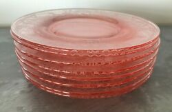 8 Antique Heisey Pink Glass 7 Plates Etched W/ Bubble Girl Pattern 1920s Euc