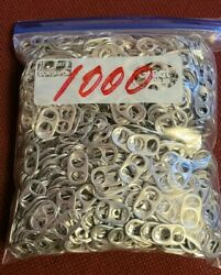 1000 Silver Aluminum Pull Tabs Can Tabs .. Clean And Same Size .. Free Shipping
