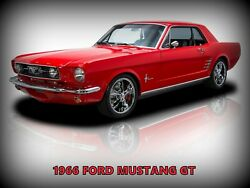 1966 Ford Mustang Gt In Red New Metal Sign Pristine Restoration