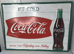 Reproduction Cola Steel Sign Fishtail Ice Cold Coca-cola Logo Man Cave