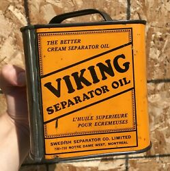 Rare 1930's Vintage Viking Separator Oil Imperial Quart Can - Montreal, Que.