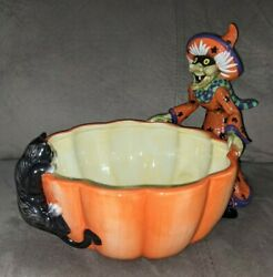 Fitz And Floyd Halloween Witch Hazel Candy Dish Witch Pumpkin Cat Bowl Rare Htf