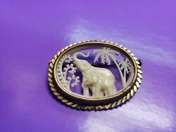 Vintage Brooch Celluloid Diorama Silhouette Elephant Les Creations France Depose