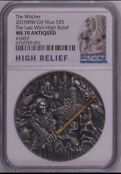 Ngc Ms70 2019 Book Series The Witcher The Last Wish Silver Coin 2oz Niue