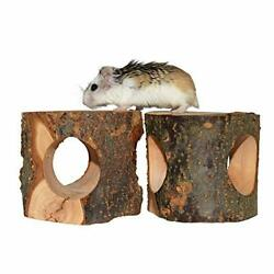 Natural Wooden Hamster Tunnel Tube Toy Forest Hollow Tree Trunk 2pcs