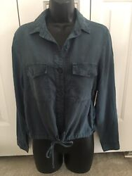 Cloth And Stone Womenand039s S Blouse Shirt Blue Button Down Drawstring Waist Tencel