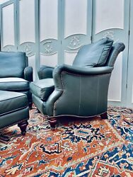 Leather Club Chairs And Ottoman Oxford Collection Basset
