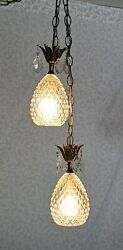 Vtg Mcm Double Swag Hanging Ceiling Light Lamp Diamond Point Glass Shades
