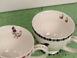 Grace Teaware Fine Ceramic Hen And Rooster Coffee Cup/ Mug Set Rare