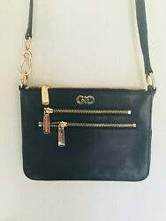 COLE HAAN Black Crossbody Leather Purse bag Mini gold LOGO Pre owned $39.99