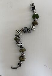 Trollbeads Stones And Dots Bracelet With Genuine Silver And Glass Beads.
