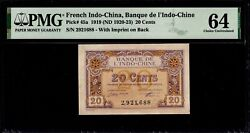 French Indochina Banque De Indochine 20 Cent 1919 Unc Pmg 64 Pick 45a