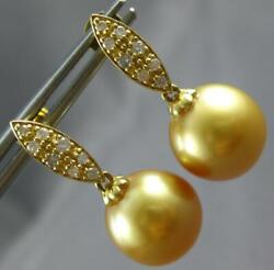 .22ct Diamond And Aaa Golden South Sea Pearl 18kt Yellow Gold 3d Hanging Earrings