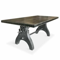 Knox Adjustable Height Dining Table - Cast Iron Crank Base - Gray Top