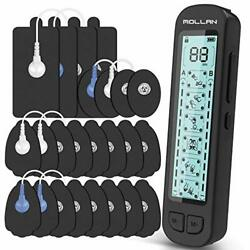 Mollan Dual Channel Tens Unit 24 Modes Electronic Pulse Massager With 12x2 El...