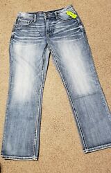 Bke Tyler Classic Straight Leg Blue Jeans Menand039s 34x34 Brand New And Free Shipping