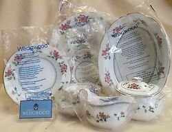 Wedgwood Chinese Flowers Place Setting Rim Soup Vegetable Sugar And Creamer
