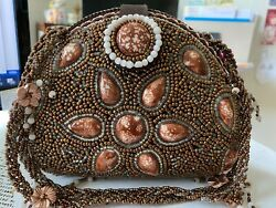 New Expressions NYC Evening Bag Luxury Vegan Beaded Bronze Brown $34.95
