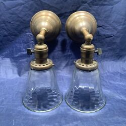 Pair Brass Early Electric Sconces Thick Clear Shades 120c