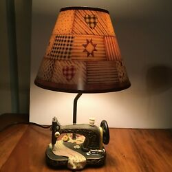 Vintage Sewing Machine Table Lamp Patchwork Shade By Collections Etc.