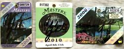 Phil Mickelson Autographed Signed 2004 2006 2010 Masters Wins Golf Badge Set Jsa