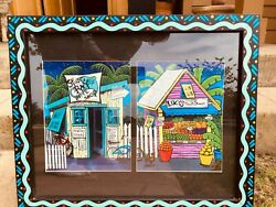 Pam Hobbs 2 Prints Framed /matted/singed Bike Shop And Fruit Stand 18 X 22