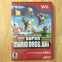 New Super Mario Bros Wii Nintendo Wii Brand New Factory Sealed Red Case