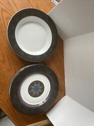 Lot Of 6 Dansk Amish Shadow 4 Luncheon Plates And 2 Soup Bowls Quilting