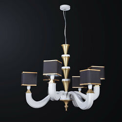 Chandelier Classic White Wood And Brass To 6 Lights Bga 3171-3-3