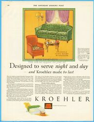 1929 Kroehler Chicago Furniture Living Room Sofa Arm Chair 1920's Home Décor Ad
