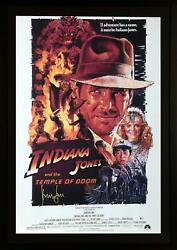Harrison Ford Indiana Jones Framed Autographed Temple Of Doom Movie Poster Bas