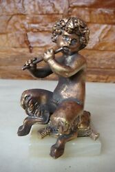 Small 19th Century French Patinated Bronze Sculpture Of Faun Child Satyr