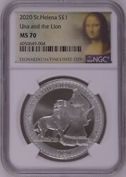 Ngc Ms70 2020 Great Britain 1oz St.helena Una And The Lion Silver Coin
