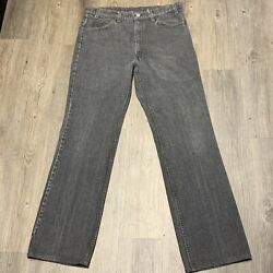 Vintage 517 Charcoal Faded Black Denim Tab Jeans Tag 34x34 Made Usa 90s