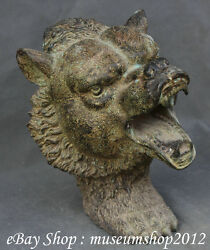 12 Old Chinese Folk Home Art Bronze Handmade Carving Wolf Wolves Head Statue