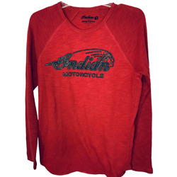 Indian Motorcycle for Lucky Brand Long Sleeve Thermal Shirt Crew Neck Red Size S $22.95