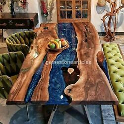 Acacia Wood Epoxy Coffee, Dining Table, River Table Clean Epoxy Live Edge Tables